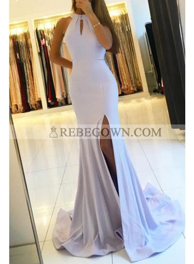 Mermaid Satin Side Slit Lavender Prom Dresses