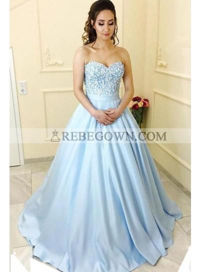 Blue Princess/A-Line Satin Sweetheart Beaded Prom Dresses