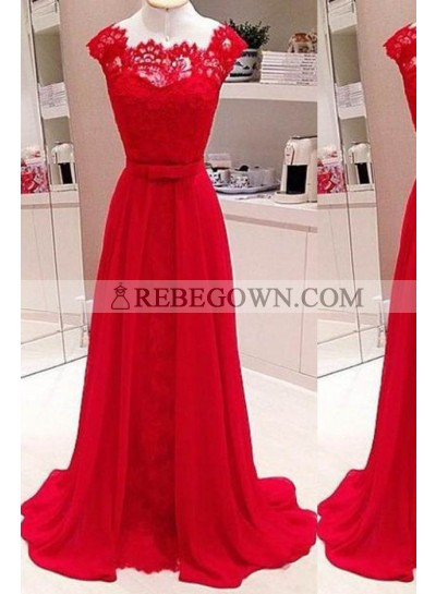 2020 Gorgeous Red Scalloped Neck A-Line Stretch Satin Prom Dresses