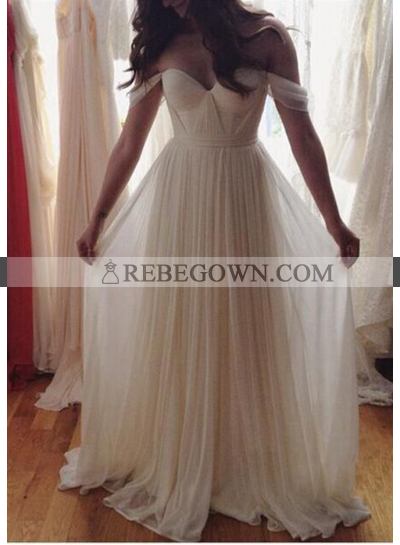 2021 Unique White Ruching Off-the-Shoulder Chiffon Prom Dresses