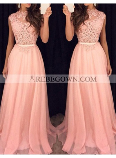 2020 Glamorous Pink Sleeveless Appliques A-Line Prom Dresses
