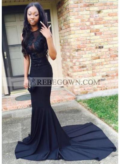 2020 Sexy Black Mermaid Satin Prom Dresses