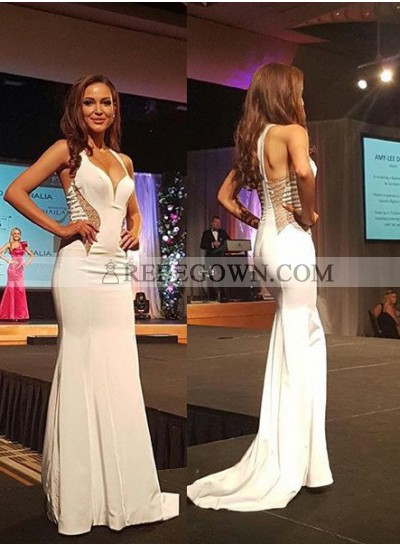 2020 Unique White Prom Dresses Straps Column/Sheath Satin