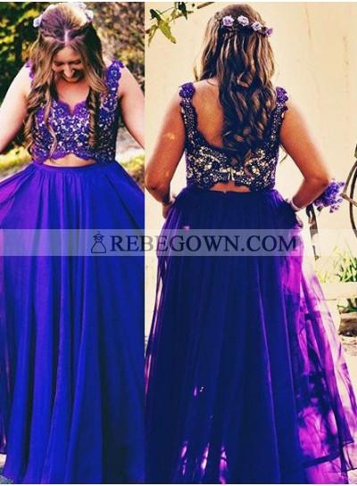 Prom Dresses Straps Lace Sleeveless A-Line Chiffon