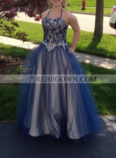 rebe gown 2020 Blue Beading Halter Ball Gown Tulle Prom Dresses
