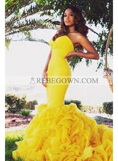 Sweetheart Sleeveless Natural Sweep Train Yellow Mermaid Prom Dresses