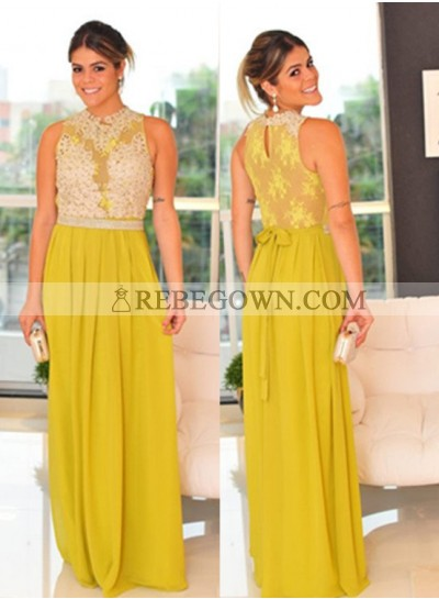 Yellow Sleeveless Natural Appliques Long Floor length A-Line Chiffon Prom Dresses