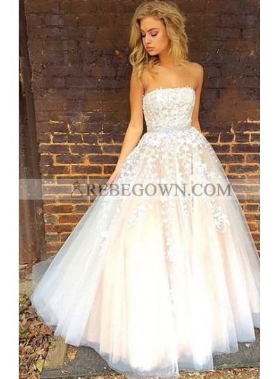 2021 Cheap Princess/A-Line Tulle Strapless Champagne Prom Dresses