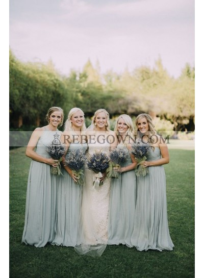 2020 Cheap A Line Sage Green Chiffon V Neck Long Bridesmaid Dresses / Gowns