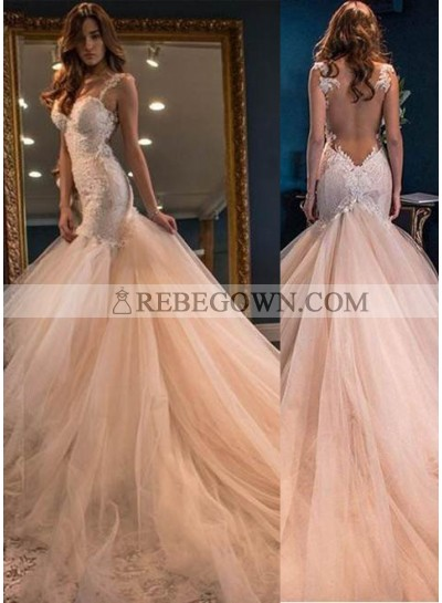 Appliques Straps Mermaid Tulle Champagne Prom Dresses
