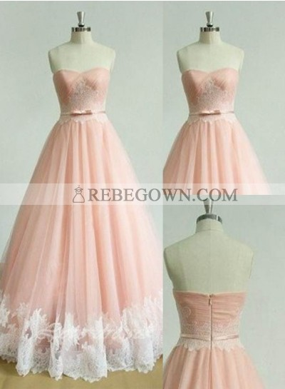 Appliques Sweetheart A-Line Tulle Prom Dresses 2021 Glamorous Pink