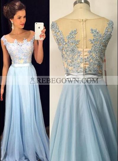 rebe gown 2020 Blue Appliques A-Line Chiffon Prom Dresses