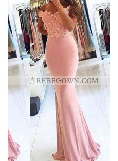 Pearl Pink Appliques Off-the-Shoulder Trumpet Chiffon Prom Dresses