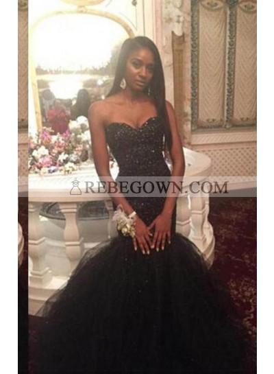 2021 Junoesque Black Long Floor length Mermaid Sweetheart Organza Prom Dresses