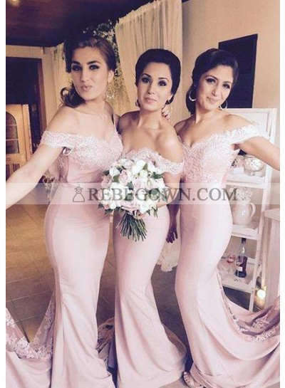2021 New Arrival Mermaid  Pink Off The Shoulder Lace Long Bridesmaid Dresses / Gowns