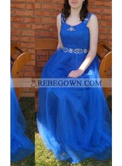 rebe gown 2020 Blue Straps Natural A-Line Beading Tulle Prom Dresses
