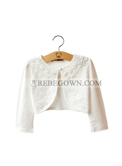 Various White Lace Long Sleeves Pearls First Holy Communion Wrap For Girls