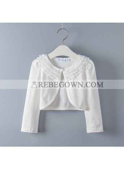 Cute Cotton Girl's Wrap Outdoor Wrap White Lace Long Sleeves First Holy Communion Wrap