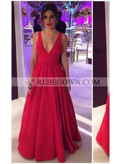 Red V-neck Satin Backless Prom Dresses