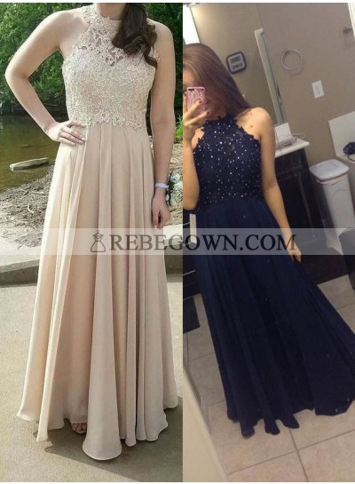 Beading Champagne Halter A-Line Chiffon Prom Dresses