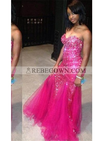 Sequins Sweetheart Mermaid Tulle Prom Dresses