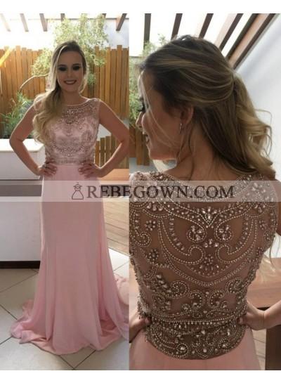 Beading Jewel Neck A-Line Chiffon 2021 Glamorous Pink Prom Dresses