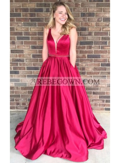2021 Elegant Princess/A-Line Satin Red Prom Dresses
