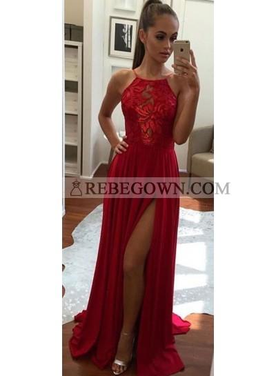 2020 Siren Side Slit Chiffon Red Prom Dresses