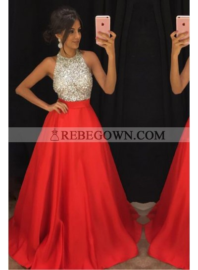 New Arrival Princess/A-Line Red Beaded Satin Prom Dresses