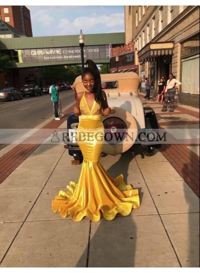 2020 Gorgeous Gold V-neck Mermaid  Prom Dresses
