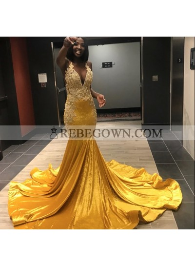 2021 Yellow Halter Sexy Mermaid  Prom Dresses