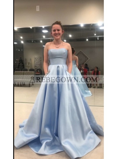 2021 Blue Ball Gown Strapless Prom Dresses