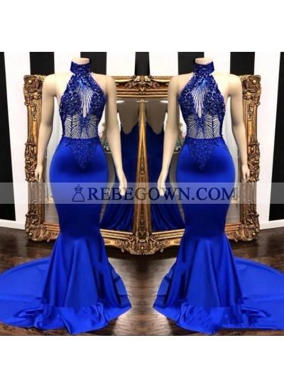 2020 High Neck Beaded Mermaid  Royal Blue Prom Dresses