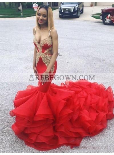 2021 Red Mermaid  V-neck Prom Dresses