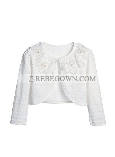Cute Cotton Pearls Girl's Wrap Outdoor Wrap White Lace Long Sleeves First Holy Communion Wrap