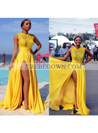 2020 Yellow Split Chiffon Prom Dresses