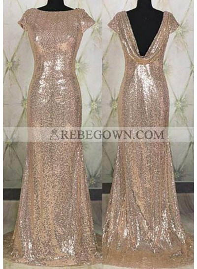 Long Floor length Bateau Neck Column/Sheath Sequined Prom Dresses