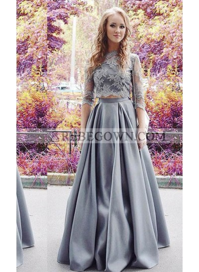 Appliques A-Line Stretch Satin Two Pieces Silver Prom Dresses