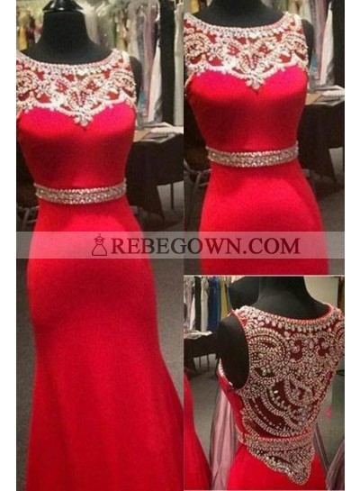2021 Gorgeous Red Beading Jewel Neck Mermaid Satin Prom Dresses