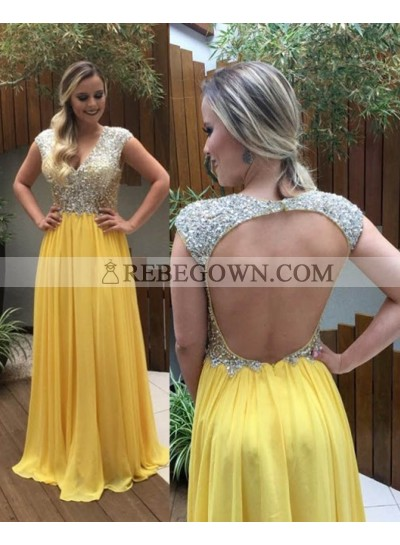 Beading Backless V-line Yellow Aline Chiffon Prom Dresses