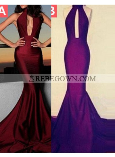 Long Floor length Halter Mermaid Taffeta Burgundy Prom Dresses