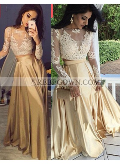 Long Sleeve Appliques Two Pieces A-Line Satin Prom Dresses