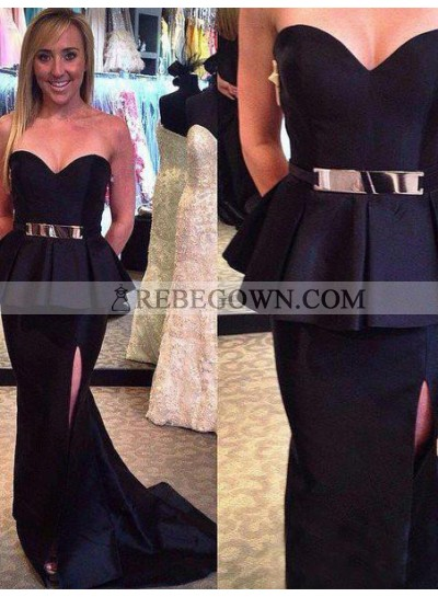 rebe gown 2020 Blue Long Floor length Mermaid Sweetheart Satin Prom Dresses