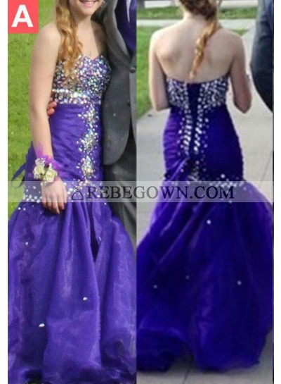 Beading Sweetheart Lace Up Mermaid Satin Prom Dresses