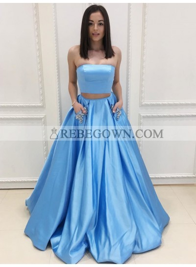 New Arrival Princess/A-Line Blue Two Pieces Satin Prom Dresses