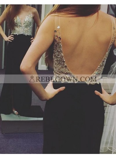 2021 Junoesque Black Sequins Backless A-Line Stretch Satin Prom Dresses