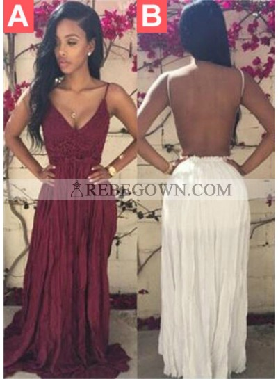 2020 Unique White Appliques Spaghetti Straps Backless Chiffon Prom Dresses