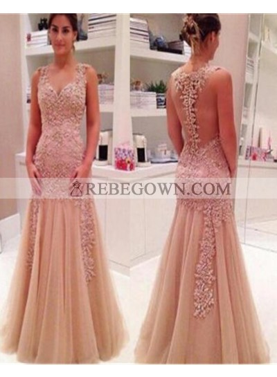 Long Floor length Appliques Zipper Natural Sleeveless Mermaid Tulle Prom Dresses