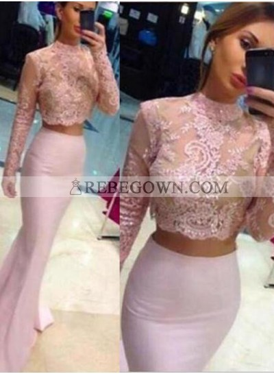 Beading Appliques Stretch Satin Two Pieces 2020 Glamorous Pink Long Sleeve Prom Dresses