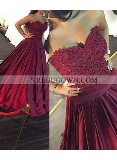 Burgundy Pleated Sweetheart A-Line Lace Prom Dresses